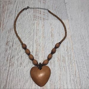 Natural Wooden Heart Beaded Necklace 1031N